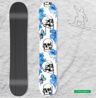Черепа и голубые цветы - Сплошные наклейки сноуборд c черепами