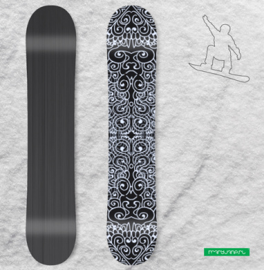 Черно-белая абстракция - Виниловые наклейки на сноуборд купить с доставкой. Воронеж