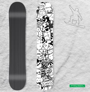 Черно-белый дудл  - Виниловые наклейки на сноуборд купить с доставкой. Воронеж