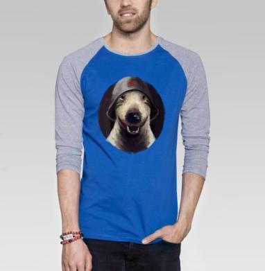 Бультерьер в каске - Футболка мужская с длинным рукавом синий / серый меланж, собаки, Популярные