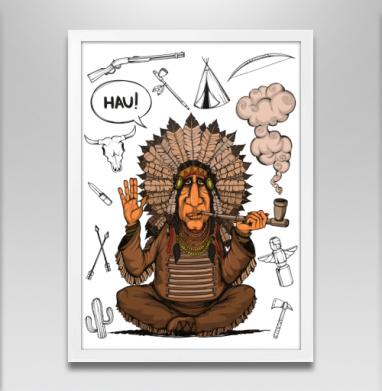 Вождь индейцев - Постер в белой раме, индеец