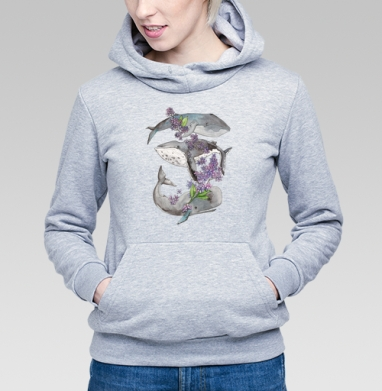 Весенние киты - Купить детские толстовки с акварелью в Москве, цена детских  с акварелью  с прикольными принтами - магазин дизайнерской одежды MaryJane