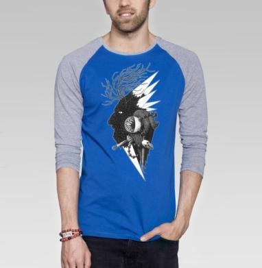 Черно-белая звезда деревянная - Футболка мужская с длинным рукавом синий / серый меланж, деревья, Популярные
