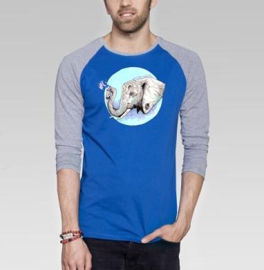 Слон-маляр - Футболка мужская с длинным рукавом синий / серый меланж, акварель, Популярные