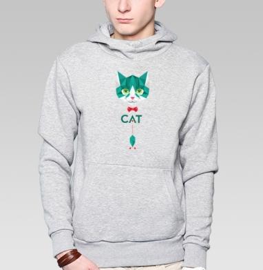 Кот Касперского, Толстовка мужская, накладной карман серый меланж