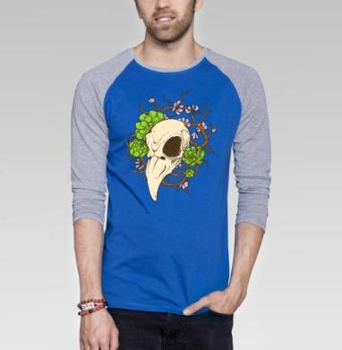 Черепушка весенняя - Футболка мужская с длинным рукавом синий / серый меланж, текстура, Популярные