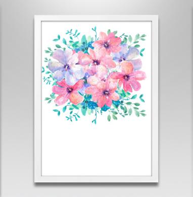 Цветы весны - Постер в белой раме, красота