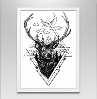 Ред стаг - Постер в белой раме, геометрия
