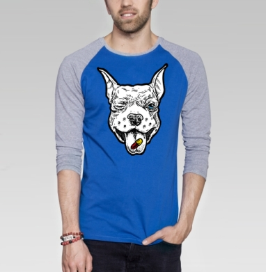 Весёлый пёс - Футболка мужская с длинным рукавом синий / серый меланж, графика, Популярные
