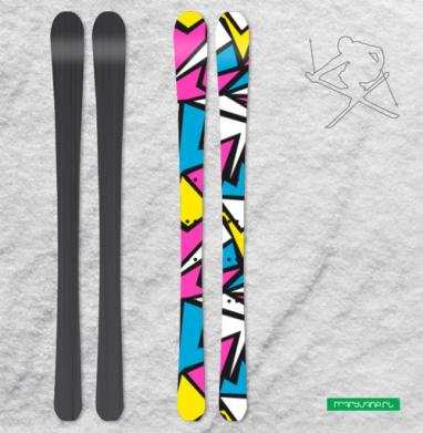 Абстрактный паттерн в стиле восьмидесятых - Наклейки на лыжи