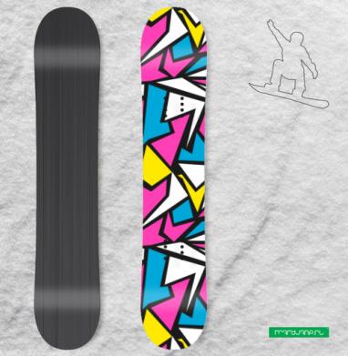 Абстрактный паттерн в стиле восьмидесятых - Наклейки на доски - сноуборд, скейтборд, лыжи, кайтсерфинг, вэйк, серф