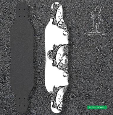 Девушка с орнаментом - Наклейки на лонгборд