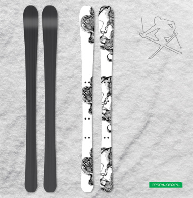 Девушка с орнаментом - Наклейки на лыжи