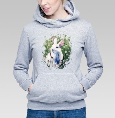 Белый зайчик на лугу - Купить детские толстовки с любовью в Москве, цена детских  с любовью  с прикольными принтами - магазин дизайнерской одежды MaryJane