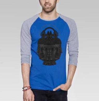 Лики Будды - Футболка мужская с длинным рукавом синий / серый меланж, голова, Популярные