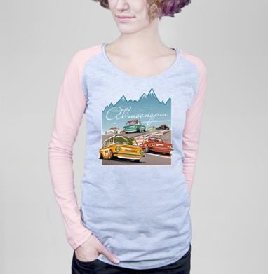 Ралли винтаж - Футболка женская с длинным рукавом серый меланж/розовая