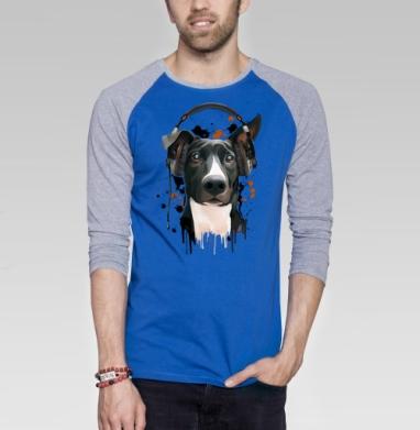 Пёс меломан - Футболка мужская с длинным рукавом синий / серый меланж, животные, Популярные