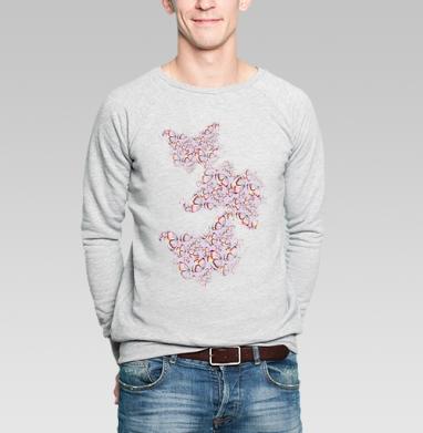 Бабочки мерцают - Купить мужские свитшоты с узорами в Москве, цена мужских свитшотов с узорами  с прикольными принтами - магазин дизайнерской одежды MaryJane