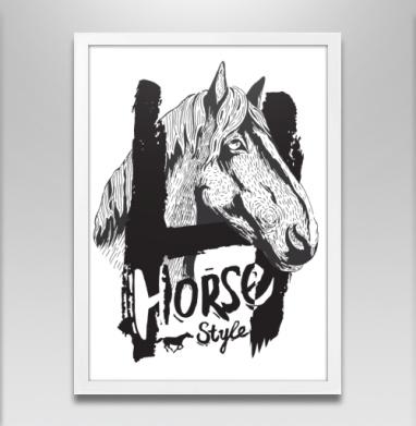 Морда лошади - Постер в белой раме, красота