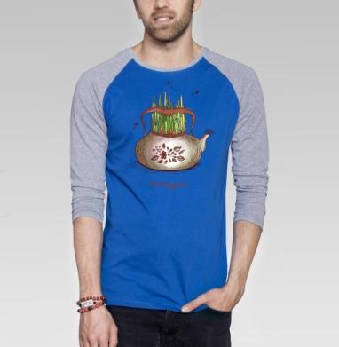 Летний чай - Футболка мужская с длинным рукавом синий / серый меланж, лето, Популярные