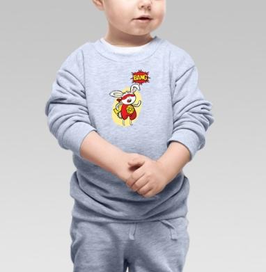 Заяц - супер герой. Ба-бах - Детские футболки с прикольными надписями