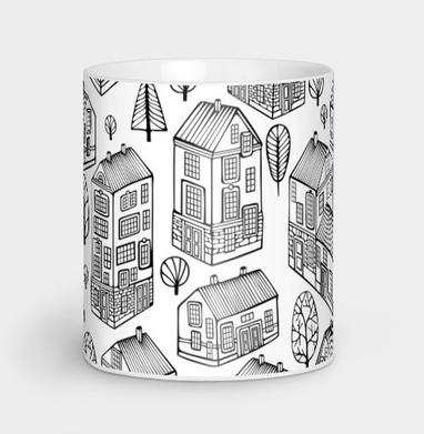 Черно-белая текстура с домиками - город, Новинки