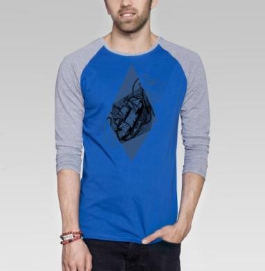 Моби Дик - Футболка мужская с длинным рукавом синий / серый меланж, графика, Популярные