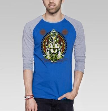 Лорд Ганеша - Футболка мужская с длинным рукавом синий / серый меланж, психоделика, Популярные