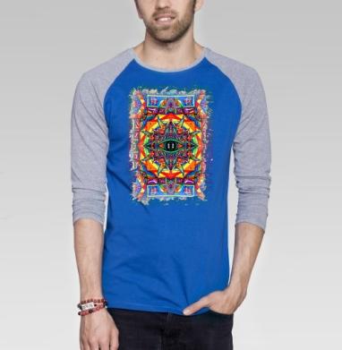 Озарение - Футболка мужская с длинным рукавом синий / серый меланж, иллюстация, Популярные