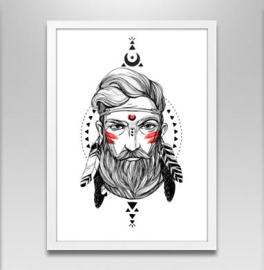 Шаман с бородой в этническом стиле. - Постер в белой раме, этно