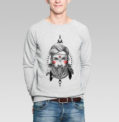 Шаман с бородой в этническом стиле. - Купить мужские свитшоты с индейцами в Москве, цена мужских  с индейцами  с прикольными принтами - магазин дизайнерской одежды MaryJane