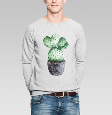 Кактус в горшочке - Купить мужские свитшоты с акварелью в Москве, цена мужских свитшотов с акварелью  с прикольными принтами - магазин дизайнерской одежды MaryJane