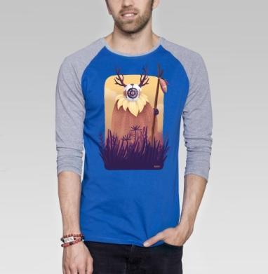 Дух рассвета - Футболка мужская с длинным рукавом синий / серый меланж, природа, Популярные