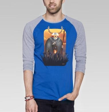 Дух заката - Футболка мужская с длинным рукавом синий / серый меланж, Иллюстация