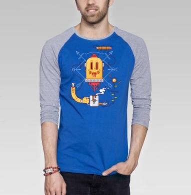 Креативная голова - Футболка мужская с длинным рукавом синий / серый меланж, Голова