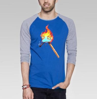 Товарищ  огонек - Футболка мужская с длинным рукавом синий / серый меланж, персонажи, Популярные