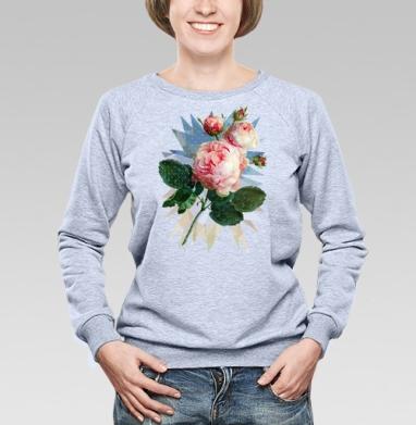 Розовая роза на геометрическом фоне - Купить женские свитшоты с роами в Москве, цена женских свитшотов с розой с прикольными принтами - магазин дизайнерской одежды MaryJane