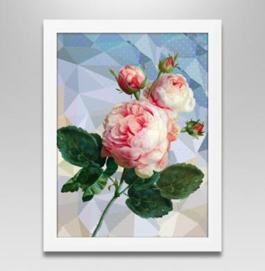 Розовая роза на геометрическом фоне, Постер в белой раме