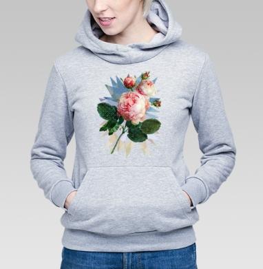 Розовая роза на геометрическом фоне - Купить детские толстовки с живописью в Москве, цена детских толстовок с живописью  с прикольными принтами - магазин дизайнерской одежды MaryJane