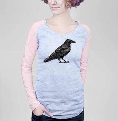 Чёрный ворон - Футболки с длинным рукавом женские. Новинки