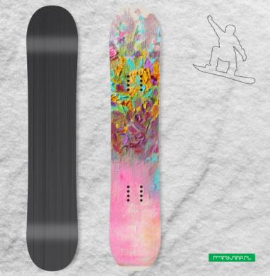 Цветы маслом - Наклейки на доски - сноуборд, скейтборд, лыжи, кайтсерфинг, вэйк, серф
