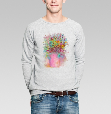 Цветы маслом - Купить мужские свитшоты с живописью в Москве, цена мужских свитшотов с живописью  с прикольными принтами - магазин дизайнерской одежды MaryJane