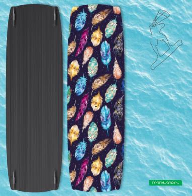 Темные акварельные перья - Наклейки на кайтсерфинг/вэйк