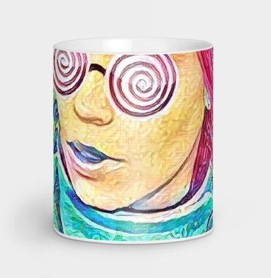 Девушка в забавных очках - Кружки с логотипом