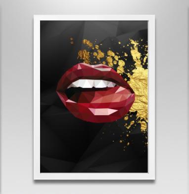 Красные губы - Постер в белой раме, лицо