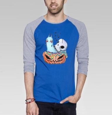 Радужная улитка на хеллоуин - Футболка мужская с длинным рукавом синий / серый меланж, череп, Популярные
