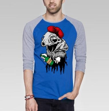 АлкоКот - Футболка мужская с длинным рукавом синий / серый меланж, череп, Популярные