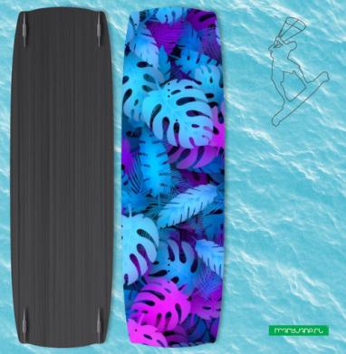 Сине-розовые тропические листья - Наклейки на кайтсерфинг/вэйк