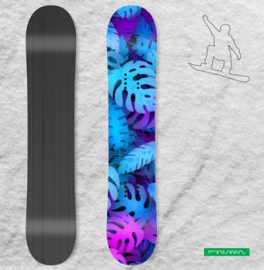 Сине-розовые тропические листья - Наклейки на доски - сноуборд, скейтборд, лыжи, кайтсерфинг, вэйк, серф