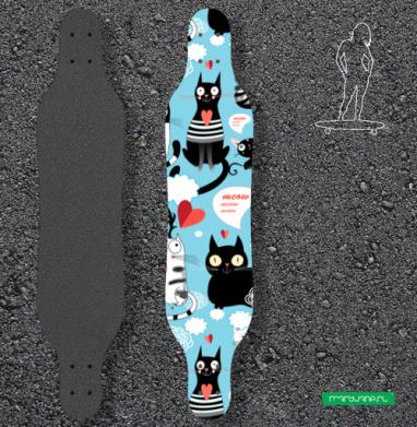 Коты в облаках - Наклейки на лонгборд